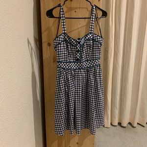 Forever21 blue and white gingham babydoll dress, S